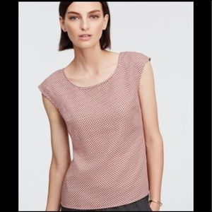 Ann Taylor Shadow Squares Back ZIP Top